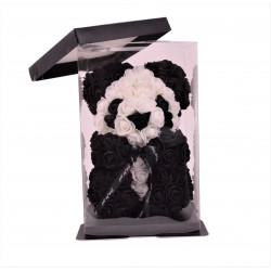 Ursulet din trandafiri de spuma tip panda in cutie transparenta H 25