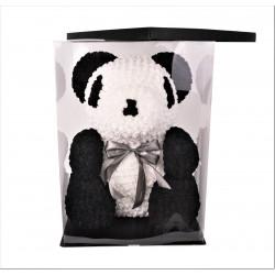 Ursulet din trandafiri de spuma tip panda in cutie transparenta H 70