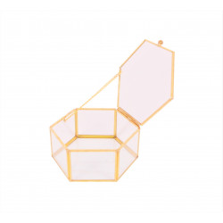 Ornament hexagonal din sticla si alama tip caseta