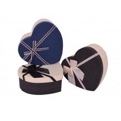 Set 3 cutii tip inima mica in doua culori