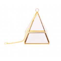 Ornament din sticla si alama piramidal