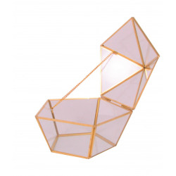 Ornament din sticla si alama caseta tip diamant