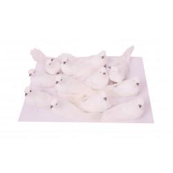 Set 12 porumbei din textil cu clips de prindere