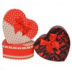 Set 3 cutii tip inima mica cu imprimeu simplu
