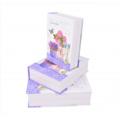 Set 3 cutii, tip carte mare cu imprimeu