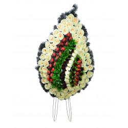 Coroana brad tip lacrima plina cu multe flori H 120 C4