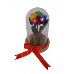 Dom din sticla cu aranjament floral H 20