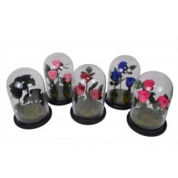 Dom din sticla cu aranjament floral H 28