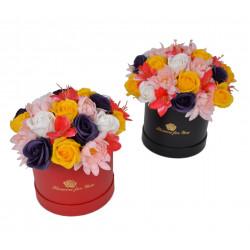 Aranjament flori de sapun in cutie