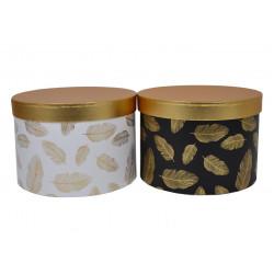 Set 3 cutii rotunde cu imprimeu si capac auriu H 17