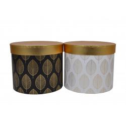 Set 3 cutii rotunde cu imprimeu si capac auriu H 19.5