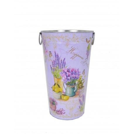 Ghiveci tip vaza, metalic, rotund cu imprimeu foto H 38