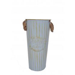 Ghiveci tip vaza, metalic, rotund, uni cu toarte H 40
