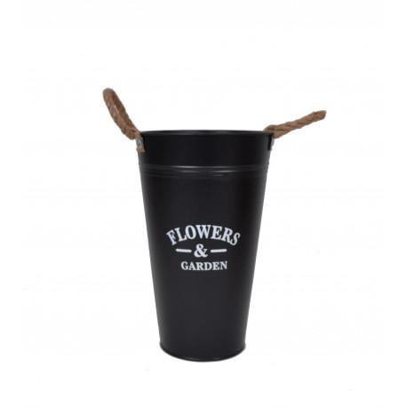 Ghiveci tip vaza, metalic, rotund, uni cu toarte H 30