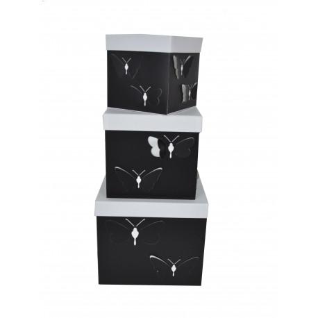 Set 3 cutii patrate cu fluturi