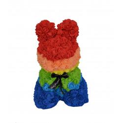 Iepuras multicolor din trandafiri de spuma in cutie transparenta H 40