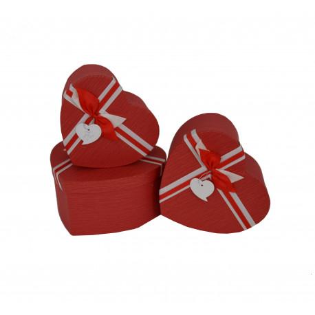 Set 3 cutii tip inima uni cu funda H 16
