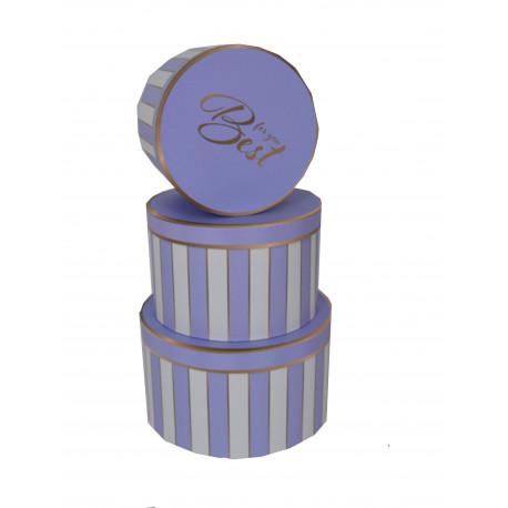 Set 3 cutii rotunde cu imprimeu cu dungi H 15