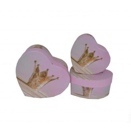 Set 3 cutii tip inima cu imprimeu foto H 7