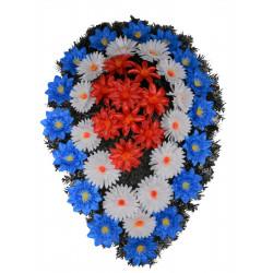 Coroana brad tip lacrima invers plina cu flori H 140 C4